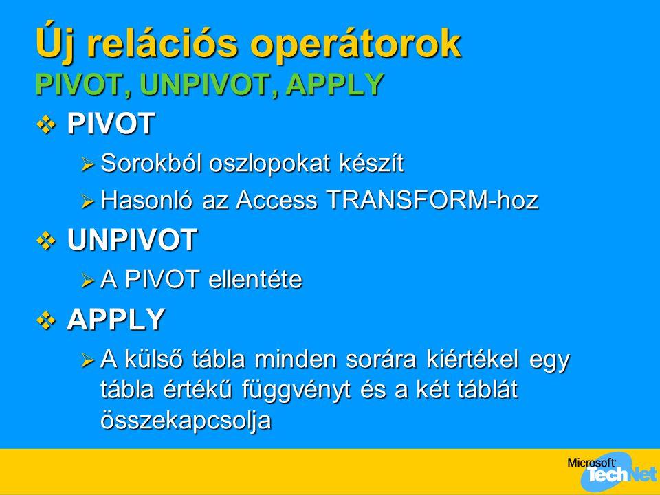 Új relációs operátorok PIVOT, UNPIVOT, APPLY