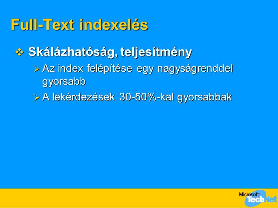 Full-Text indexelés Skálázhatóság, teljesítmény