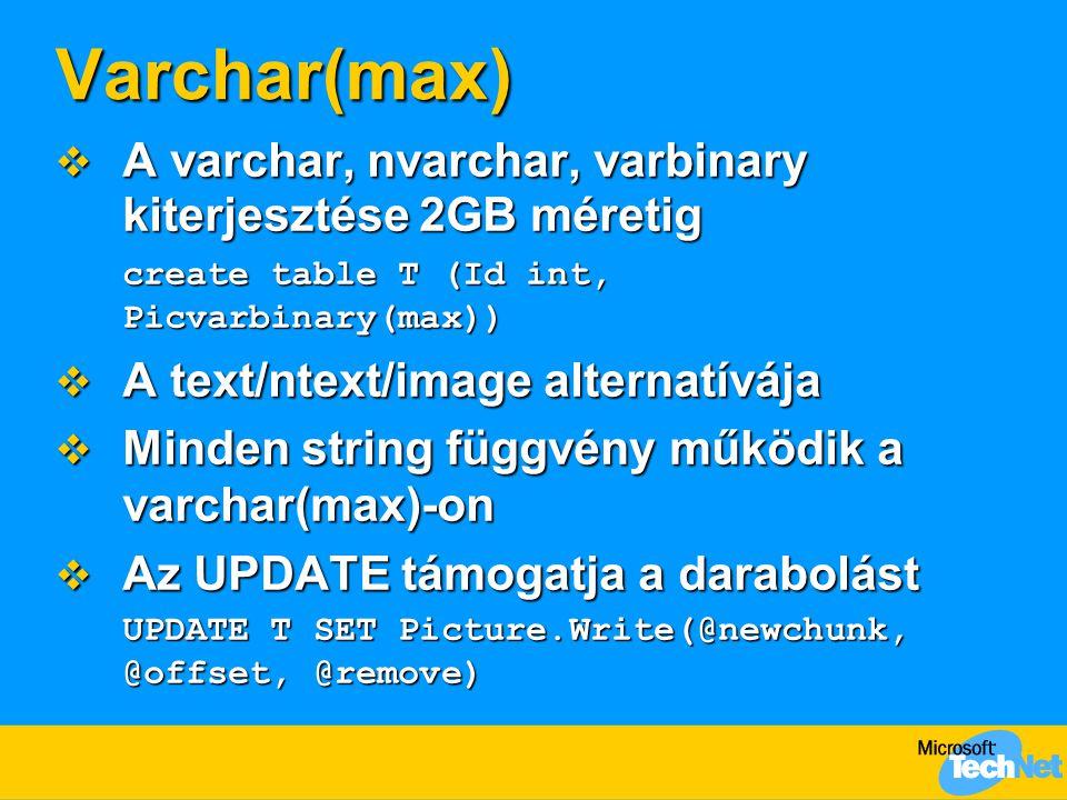 Varchar(max) A varchar, nvarchar, varbinary kiterjesztése 2GB méretig