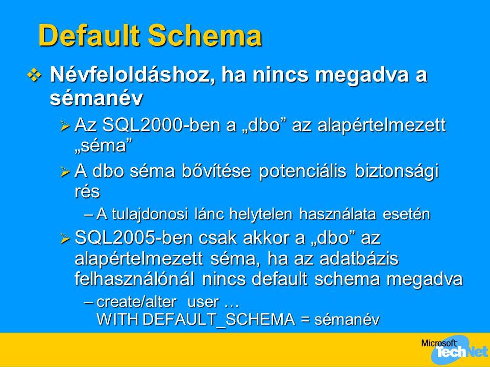 Default Schema Névfeloldáshoz, ha nincs megadva a sémanév