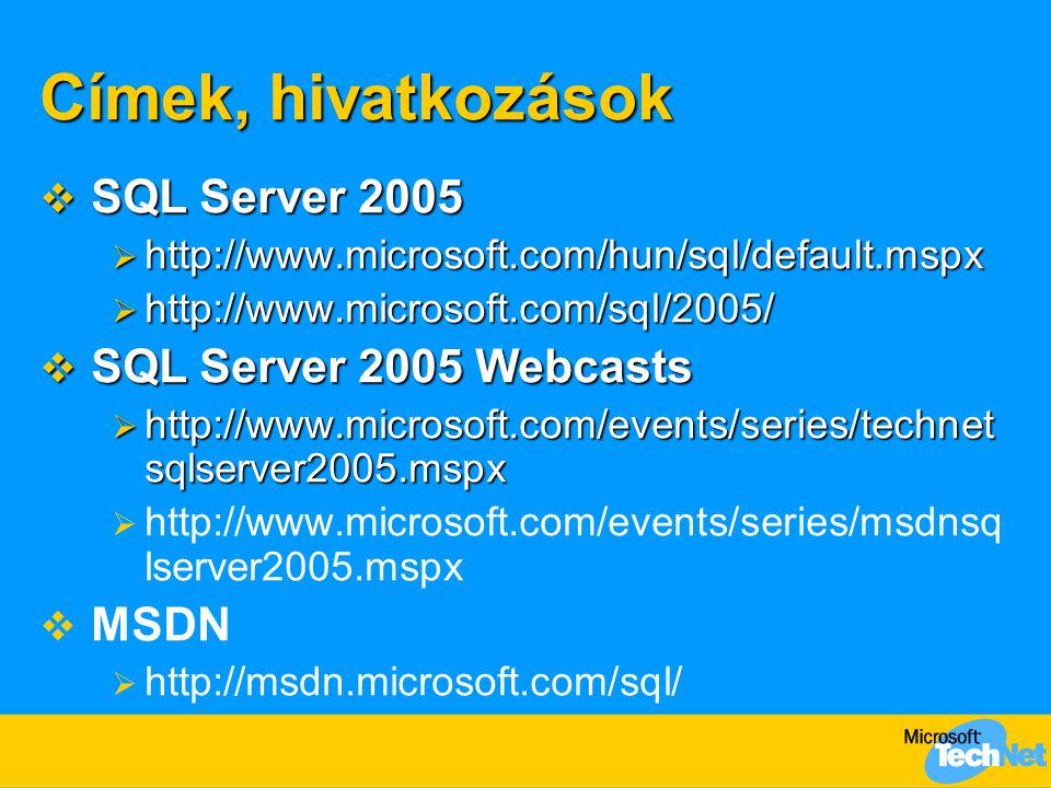 Címek, hivatkozások SQL Server 2005 SQL Server 2005 Webcasts MSDN