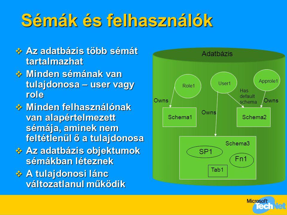 Sémák és felhasználók Az adatbázis több sémát tartalmazhat