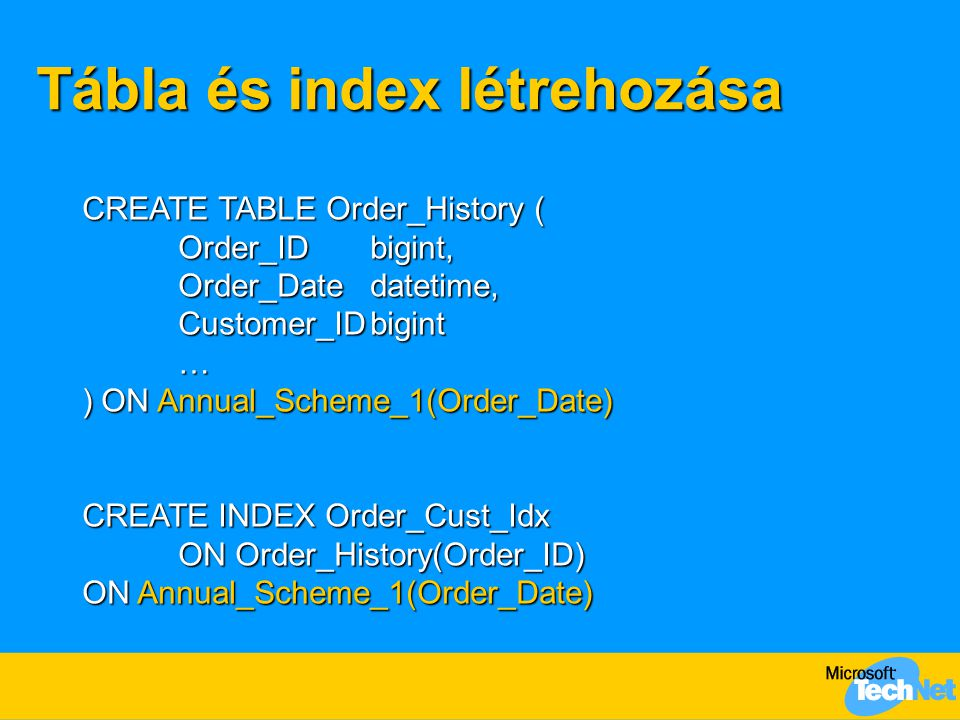 Tábla és index létrehozása