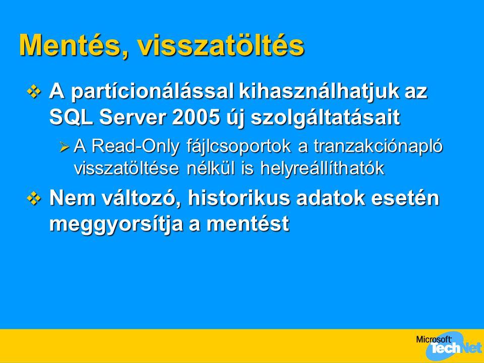 Mentés, visszatöltés A partícionálással kihasználhatjuk az SQL Server 2005 új szolgáltatásait.
