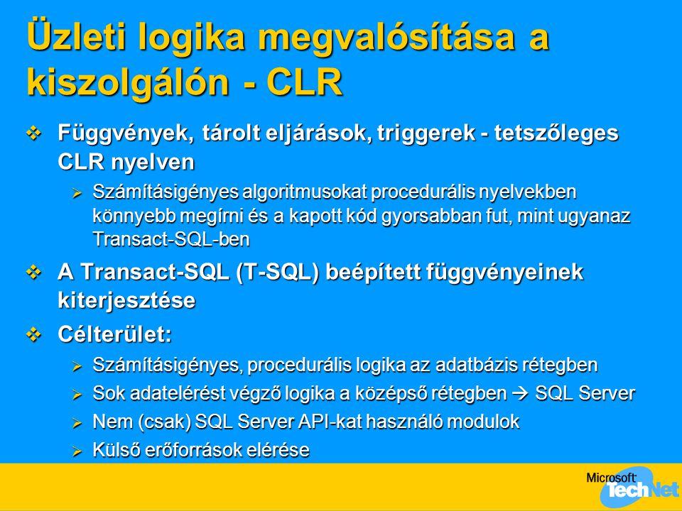 Üzleti logika megvalósítása a kiszolgálón - CLR