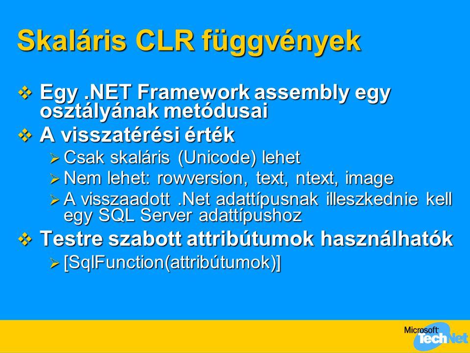 Skaláris CLR függvények