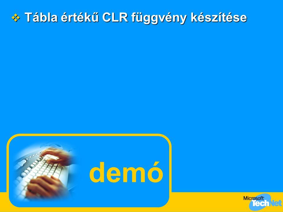 Tábla értékű CLR függvény készítése