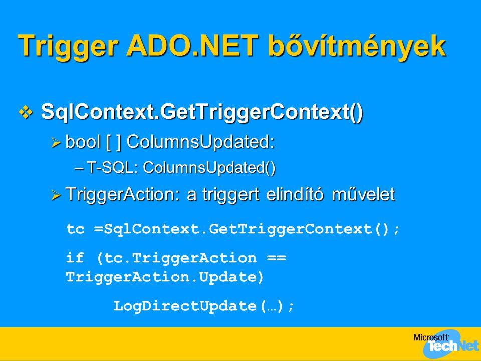 Trigger ADO.NET bővítmények