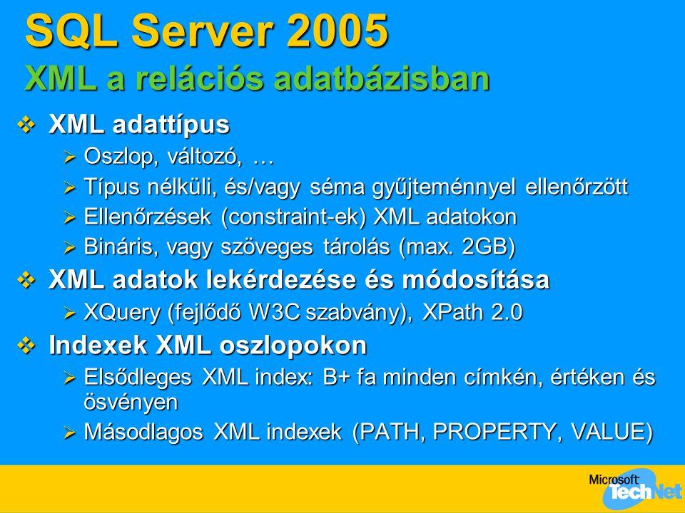 SQL Server 2005 XML a relációs adatbázisban