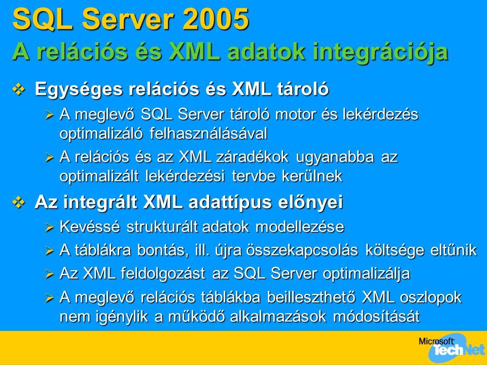 SQL Server 2005 A relációs és XML adatok integrációja