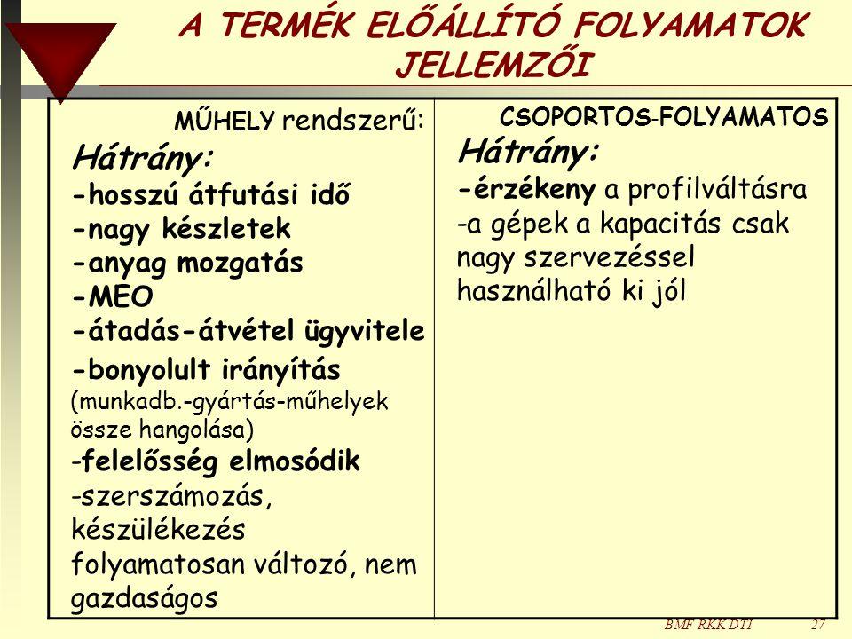 A TERMÉK ELŐÁLLÍTÓ FOLYAMATOK JELLEMZŐI