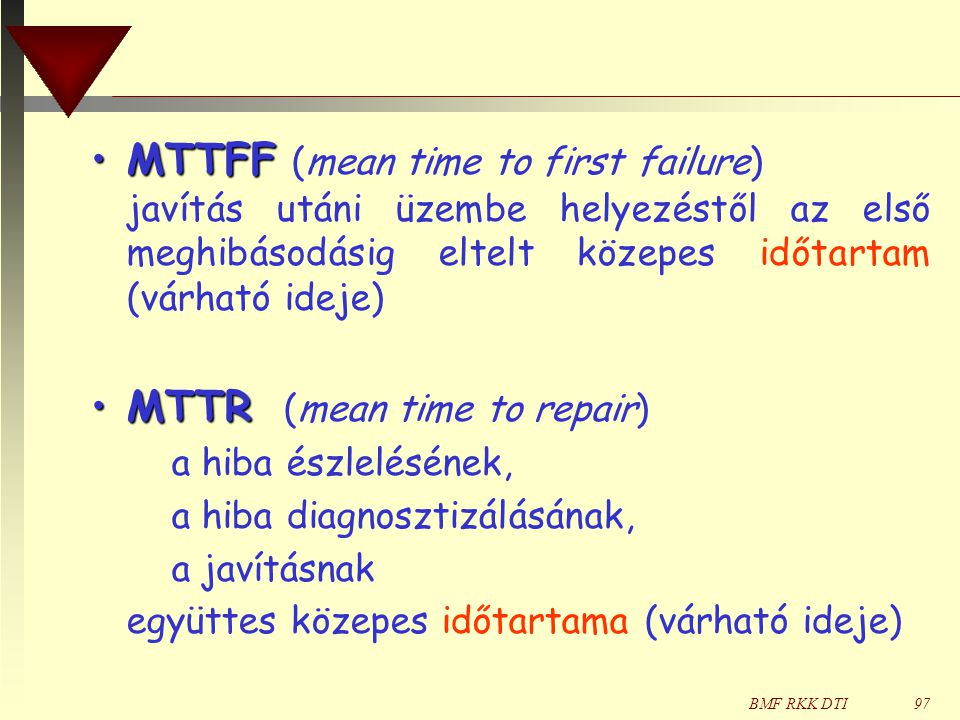 MTTR (mean time to repair)