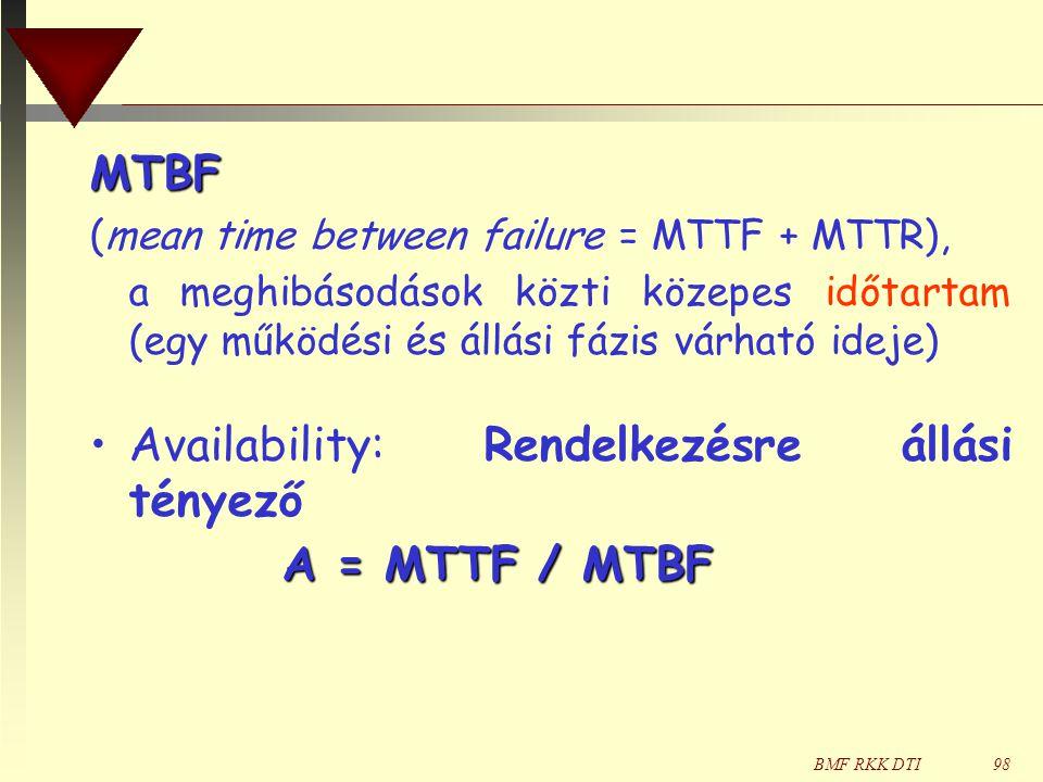 Availability: Rendelkezésre állási tényező A = MTTF / MTBF