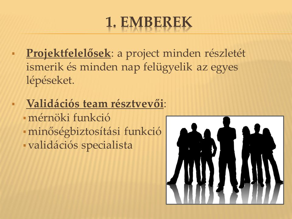 1. Emberek Projektfelelősek: a project minden részletét ismerik és minden nap felügyelik az egyes lépéseket.