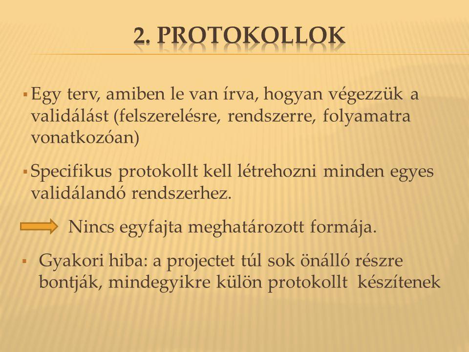 2. Protokollok Egy terv, amiben le van írva, hogyan végezzük a validálást (felszerelésre, rendszerre, folyamatra vonatkozóan)