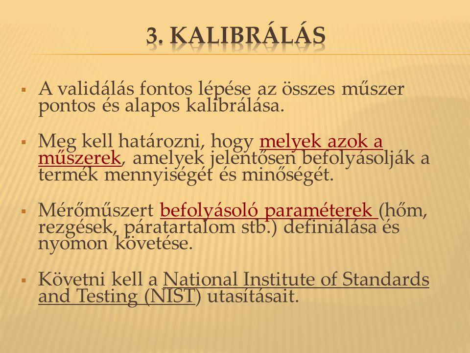 3. Kalibrálás A validálás fontos lépése az összes műszer pontos és alapos kalibrálása.