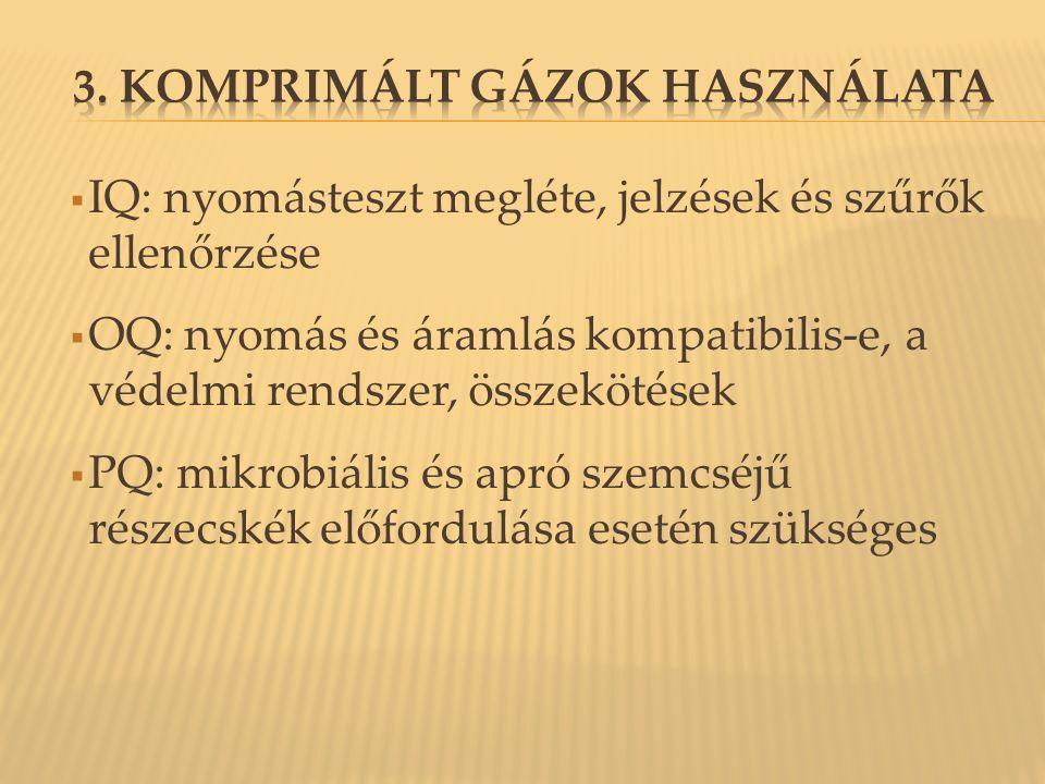 3. Komprimált gázok használata