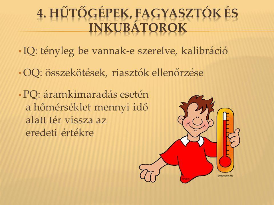 4. Hűtőgépek, fagyasztók és inkubátorok