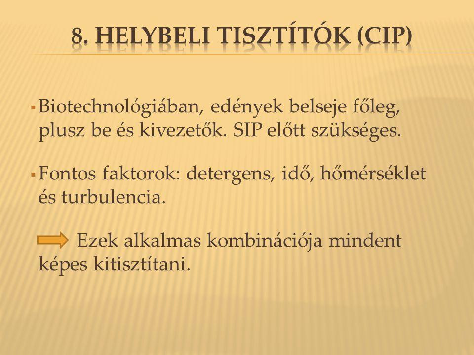 8. Helybeli tisztítók (CIP)