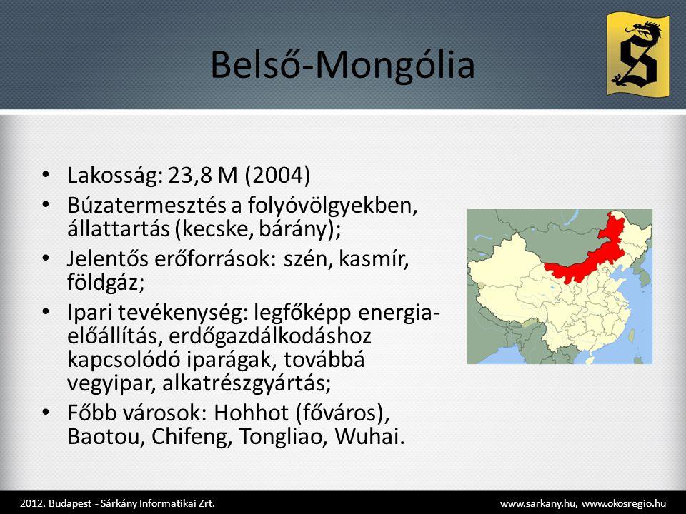 Belső-Mongólia Lakosság: 23,8 M (2004)
