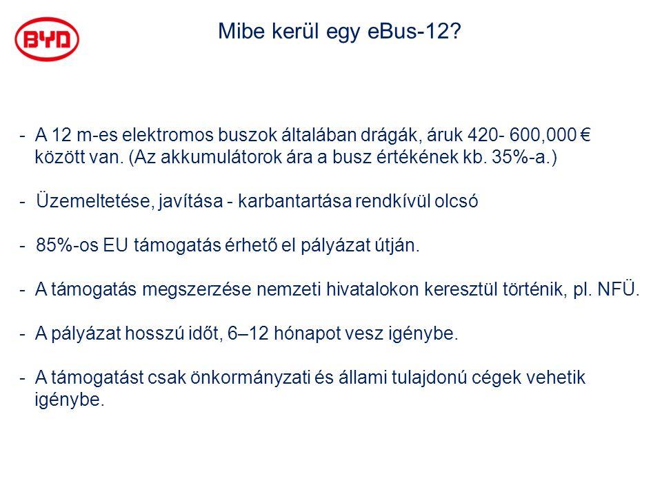 Mibe kerül egy eBus-12 A 12 m-es elektromos buszok általában drágák, áruk 420- 600,000 €