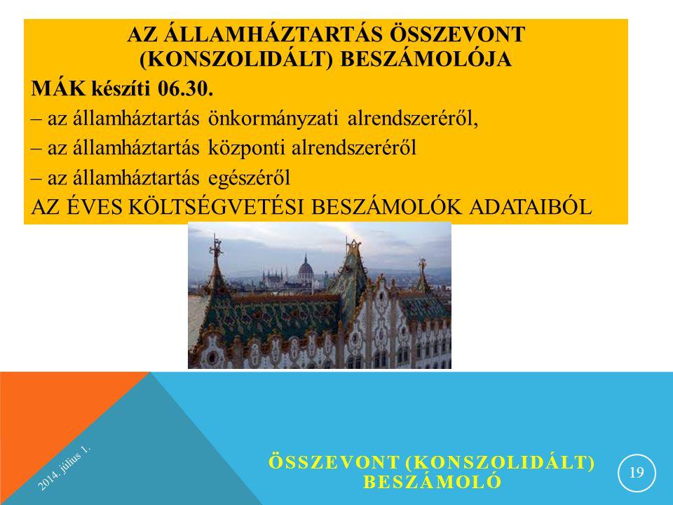 AZ ÁLLAMHÁZTARTÁS ÖSSZEVONT (KONSZOLIDÁLT) BESZÁMOLÓJA