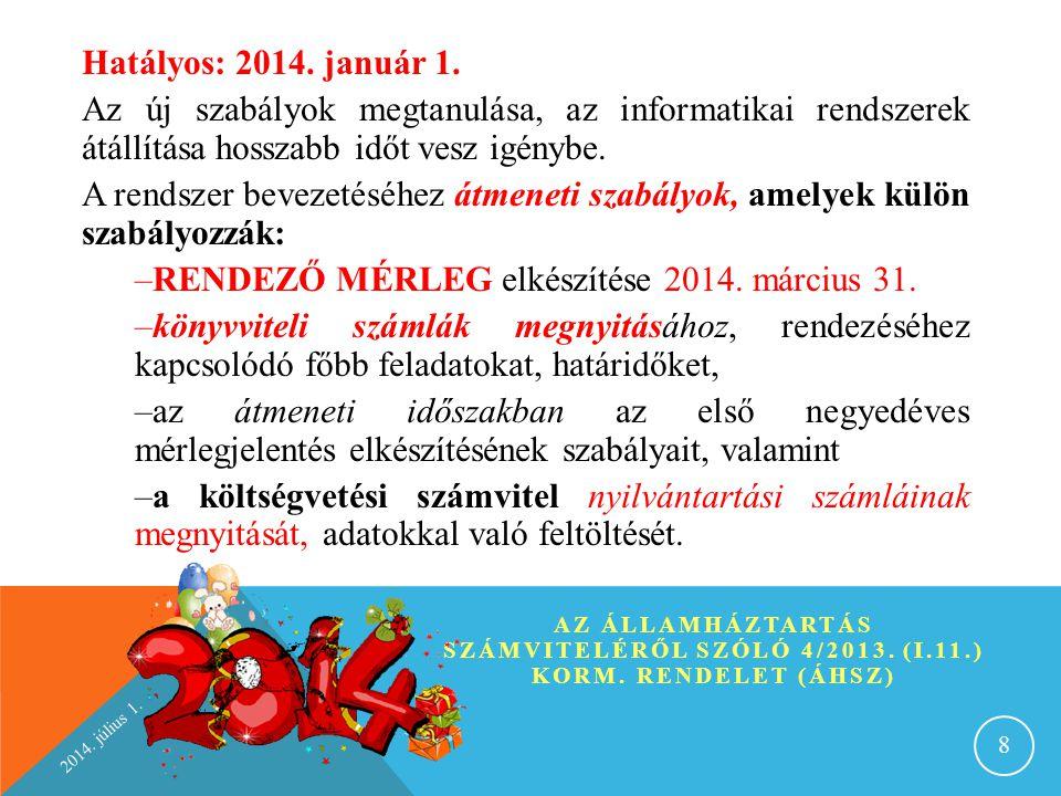 RENDEZŐ MÉRLEG elkészítése 2014. március 31.