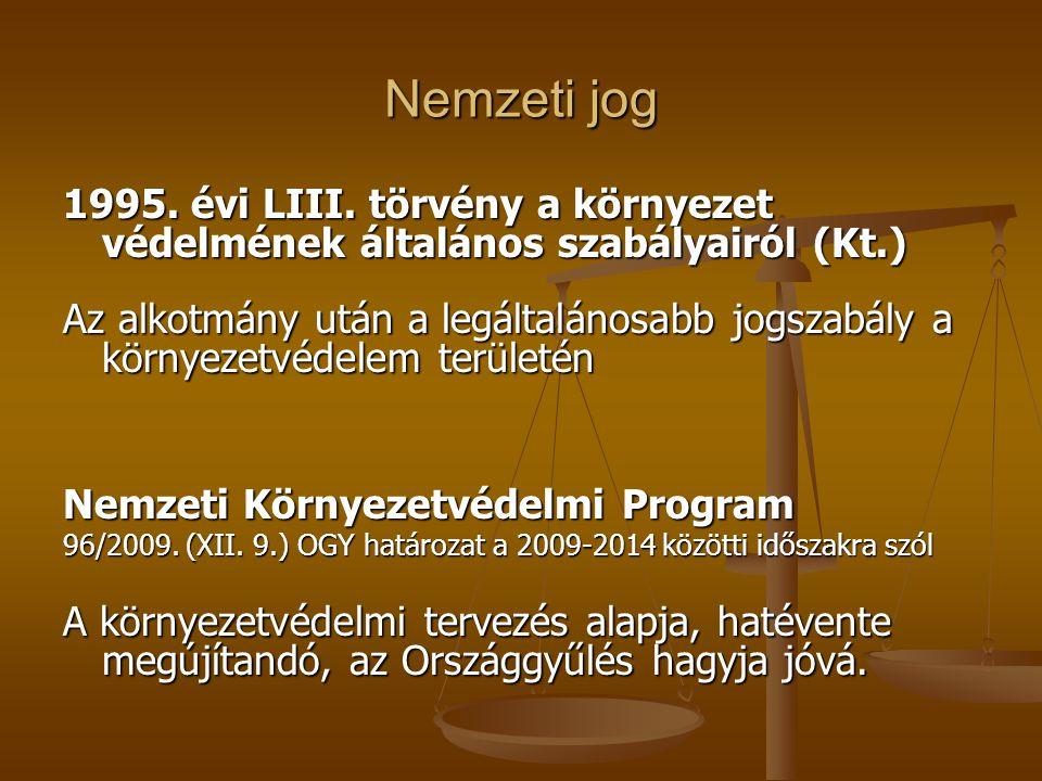 Nemzeti jog 1995. évi LIII. törvény a környezet védelmének általános szabályairól (Kt.)