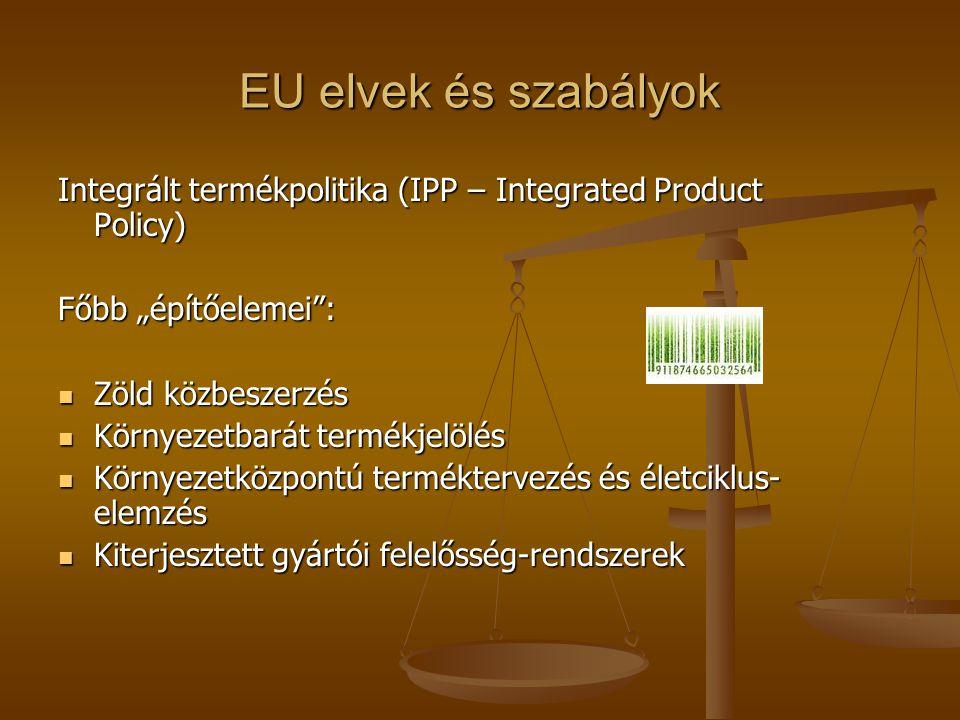 """EU elvek és szabályok Integrált termékpolitika (IPP – Integrated Product Policy) Főbb """"építőelemei :"""