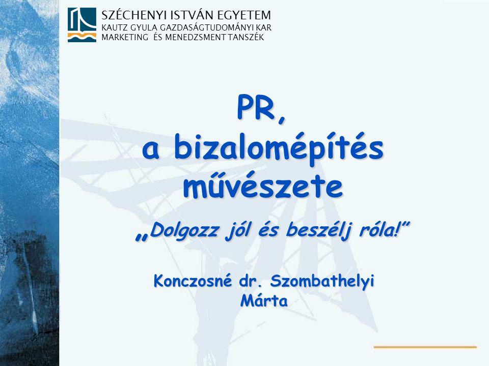 Tananyagbeosztás 8.Hírnév, imázs 9.Sajtókapcsolatok (Media Relations)