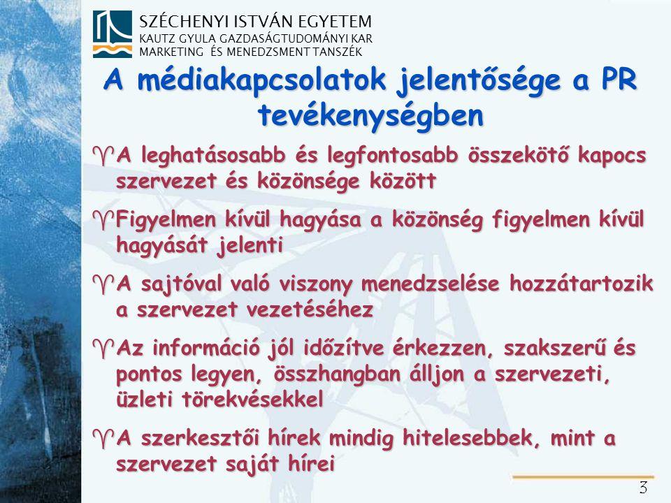 A sajtó és a PR viszonya Kétoldalú kommunikáció a szervezet és a média között.