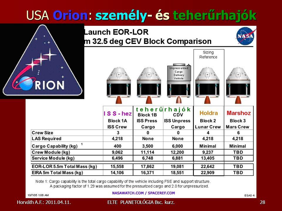 USA Orion: személy- és teherűrhajók