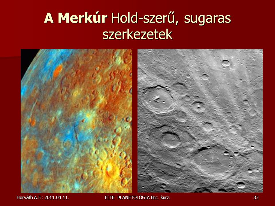 A Merkúr Hold-szerű, sugaras szerkezetek