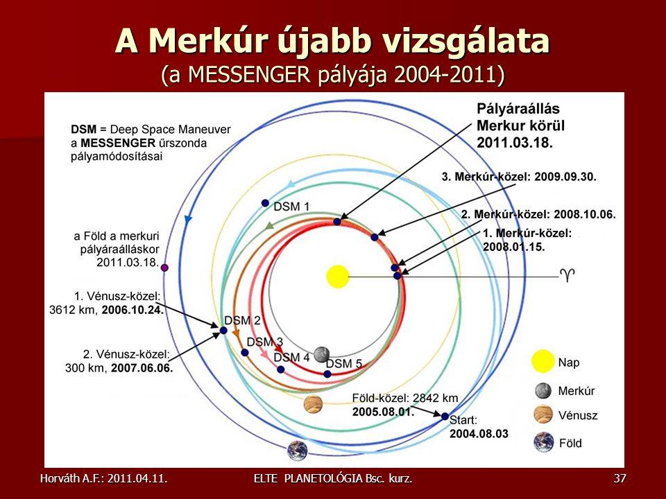 A Merkúr újabb vizsgálata (a MESSENGER pályája 2004-2011)