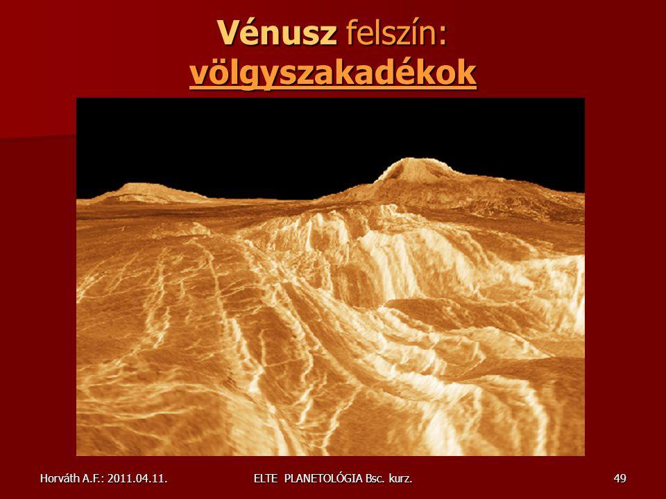 Vénusz felszín: völgyszakadékok