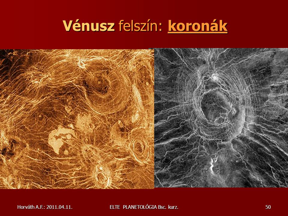 Vénusz felszín: koronák