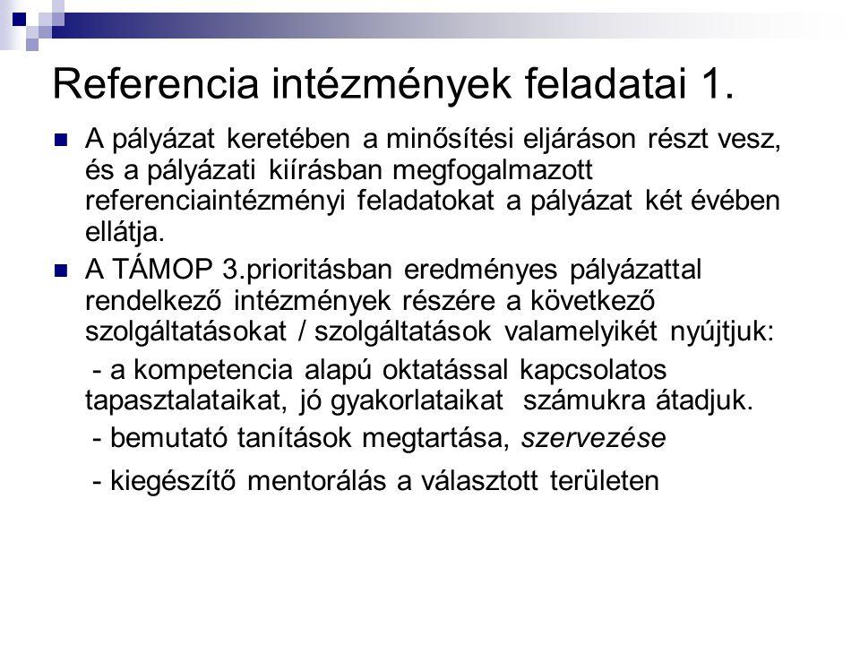 Referencia intézmények feladatai 1.