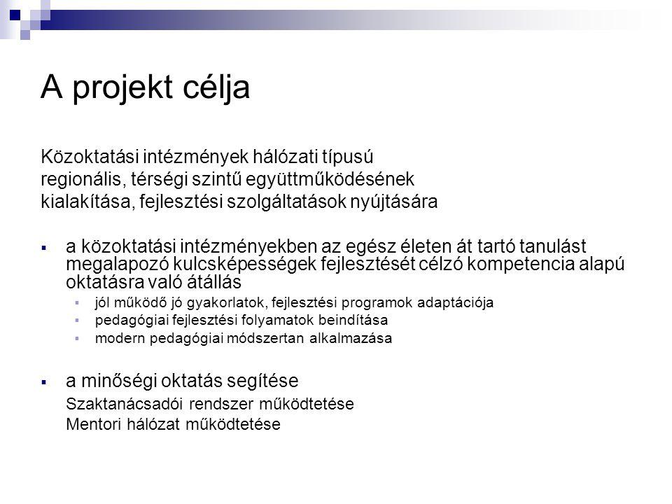 A projekt célja Közoktatási intézmények hálózati típusú