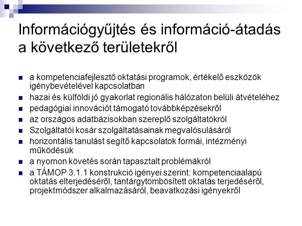 Információgyűjtés és információ-átadás a következő területekről