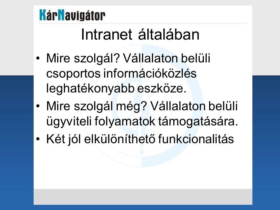 Intranet általában Mire szolgál Vállalaton belüli csoportos információközlés leghatékonyabb eszköze.