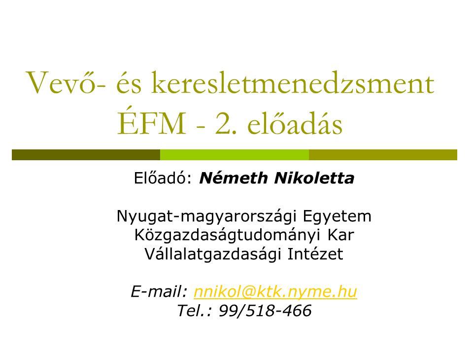 Vevő- és keresletmenedzsment ÉFM - 2. előadás