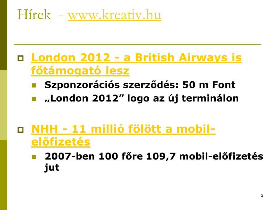 Hírek - www.kreativ.hu London 2012 - a British Airways is főtámogató lesz. Szponzorációs szerződés: 50 m Font.