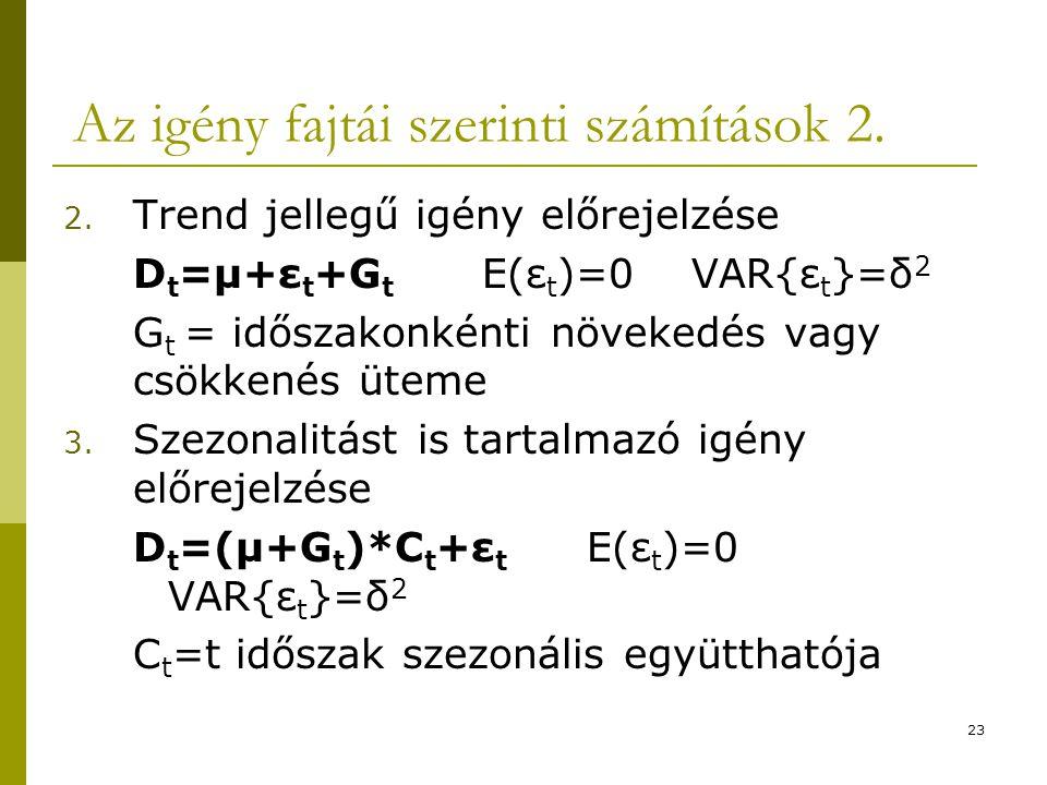 Az igény fajtái szerinti számítások 2.