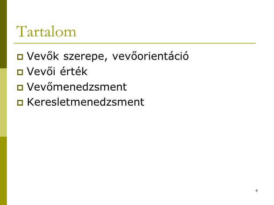 Tartalom Vevők szerepe, vevőorientáció Vevői érték Vevőmenedzsment