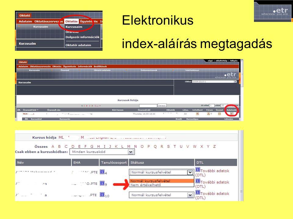 Elektronikus index-aláírás megtagadás