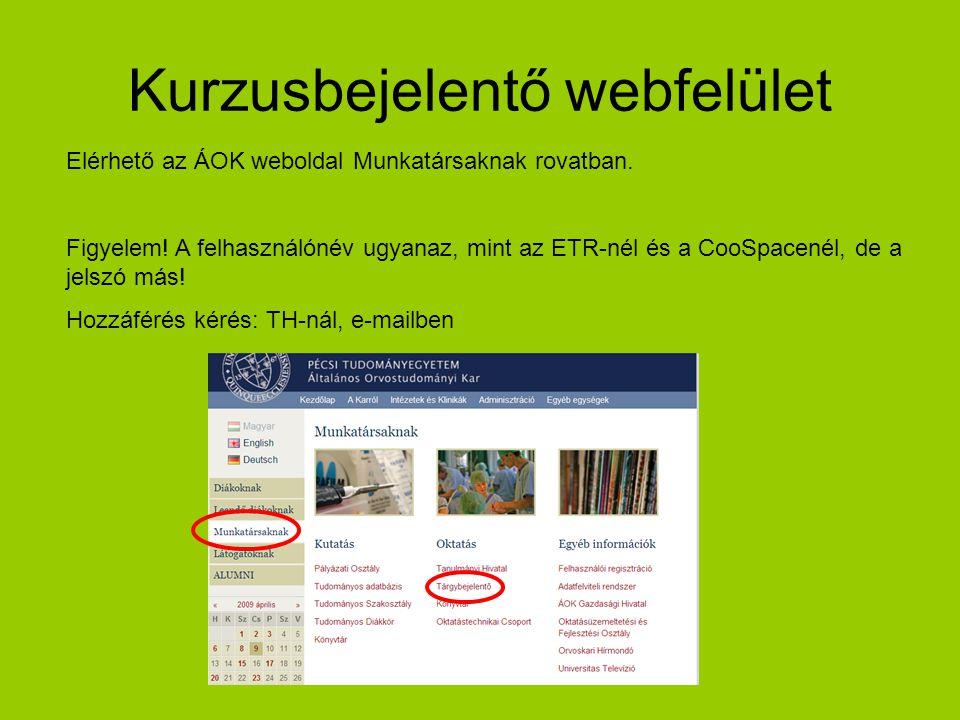 Kurzusbejelentő webfelület