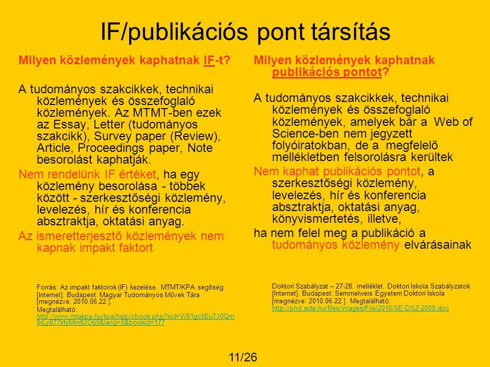 IF/publikációs pont társítás