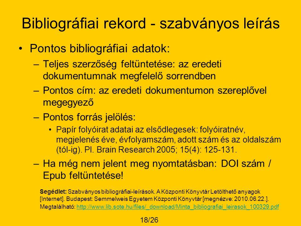Bibliográfiai rekord - szabványos leírás