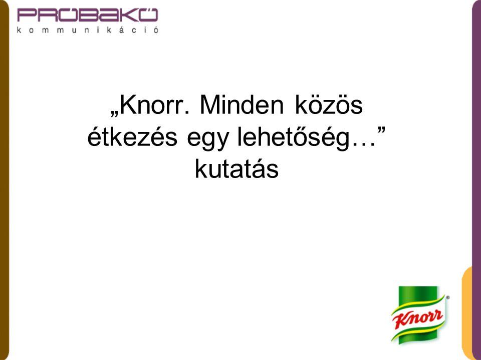 """""""Knorr. Minden közös étkezés egy lehetőség… kutatás"""