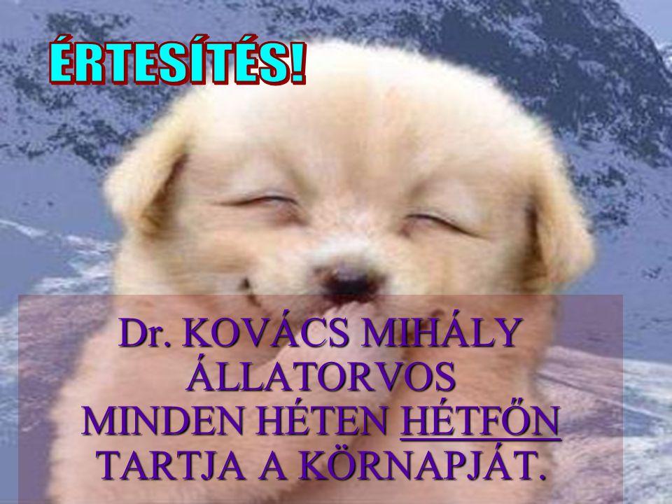 Dr. KOVÁCS MIHÁLY ÁLLATORVOS MINDEN HÉTEN HÉTFŐN TARTJA A KÖRNAPJÁT.
